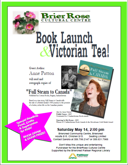 Poster for Book Launch fundraiser for Full Steam to Canada!