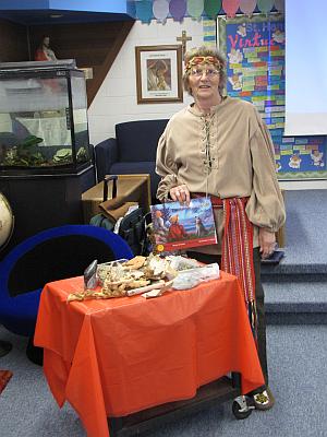 Myrna Guymer at a school reading
