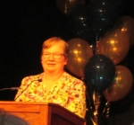 Dianne Young accepting the 2014 Saskatchewan Book Award for Dear Flyary