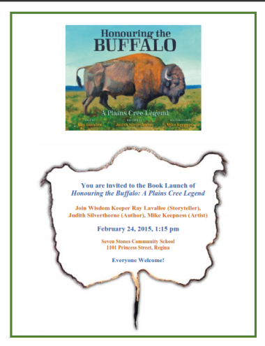 Poster for Judith Silverthorne's launch of Honouring the Buffalo