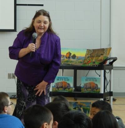 Judith Silverthorne answers questions at Seven Stones School, Regina Saskatchewan