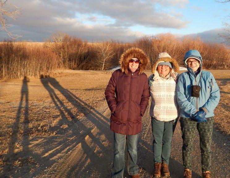 Sandra, Alison, Anne and shadows at Cedar Lodge, 2014
