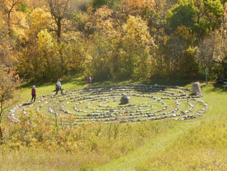 Robins walking the labyrinth at St. Michael's Retreat, Lumsden