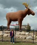Sharon with the Moose Jaw moose, 2017