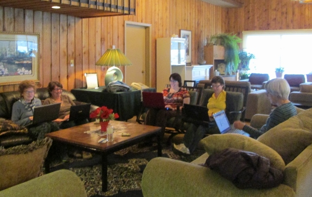 Anne, Alison, Paula Jane, Adele, Gillian hard at work in Cedar Lodge, 2014