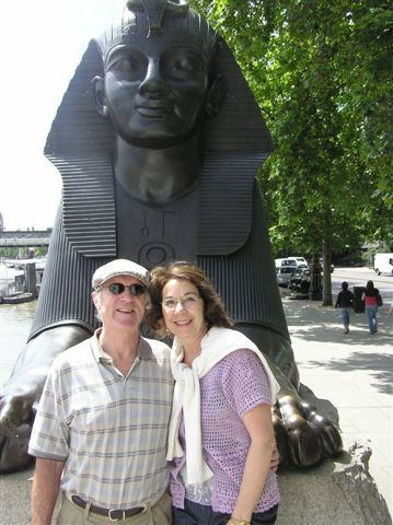 Judith Benson and husband Geoff (and the Sphinx)