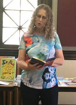 Linda reading from Run